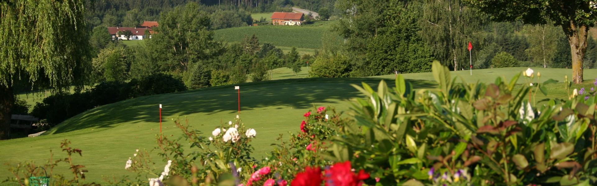 Putting-Green nach Hörreuth, ohne Leute, 24-Loch Golfanlage in Raßbach